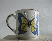 Blue and Gold Stoneware Butterfly Mug