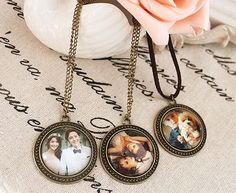 Custom made personalized Picture Photo Pendant necklace Valentine Wedding Baby Gift. $22.99, via Etsy.
