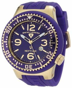 Swiss Legend Men's 21818P-YG-11 Neptune Purple Dial Purple Silicone Watch Swiss Legend. $149.99. Date function at 4:00. Water-resistant to 100 M (330 feet). Swiss quartz movement. Purple dial with gold tone and white hands, gold tone markers and arabic numerals; luminous; unidirectional gold ion-plated stainless steel bezel with purple ring and gold tone arabic numerals; screw-down crown. Mineral crystal with sapphire coating; gold ion-plated stainless steel case with purpl...