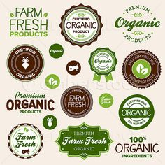 Organic food labels and graphics.