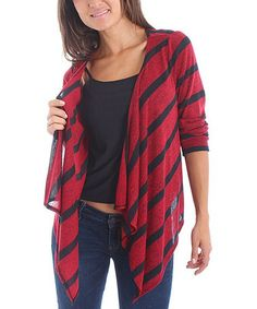 Take a look at this Red & Black Stripe Open Cardigan by Buy in America on #zulily today!