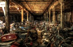 abandoned motorcycles