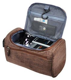 Mens Travel Shaving Toiletry Bag Small Hanging Wash Organizer Dopp Kit Travel Accessories, Frosted Coffee