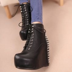 USD23.99Spring Autumn Round Toe Rivets Embellished Lace Up Super High Wedge Black PU Cavalier Boots