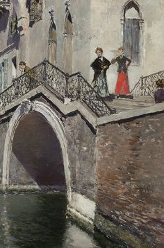 Martin Rico y Ortega (1833 - 1908) A Summer's Afternoon, Venice Oil on panel 13 3/4 x 10 1/4 inches Signed (detail)