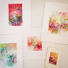 Little works on paper! So fun to paint tiny after a full day painting on large canvas! #fineart #art #abstractart #color #design #chicago #originalart #interior #interiors #interiordesign #inspiration #style #studio #gallery #amydonaldson