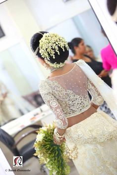 What a beautiful large low bun with real flower gajra! Care however should be ta Bridal Hairstyle Indian Wedding, Bridal Hair Buns, Bridal Hairdo, Indian Bridal, Dream Wedding Dresses, Bridal Dresses, Flower Girl Dresses, Wedding Outfits, Bridal Lehenga