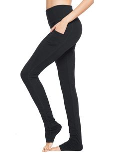 Baleaf Women's High Waist Yoga Pants Over The Heel Tummy Control Leggings Extra LongSide Pocket ** For more information, visit image link. (This is an Amazon affiliate link) #yogapantswithpockets Tummy Control Leggings, Yoga Pants With Pockets, Tall Women, High Waist, Image Link, Black Jeans, High Heels, Amazon, Stylish