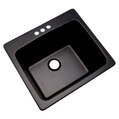 3-Hole 25 In. Drop In Single Bowl Laundry Kitchen Utility Basin Sink, Black #MontBlanc