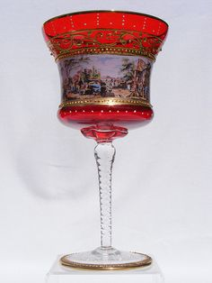 "9"" Venetian Murano enamelled and gilded ruby glass goblet"
