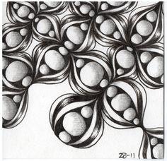 Zentangle Tile using Assunta and Inapod tangle pattern