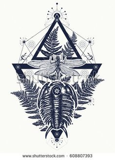 Prehistoric tattoo art.  Dragonfly in triangle t-shirt design. Symbol of paleontology, science, education. Trilobites, dragonfly and fern tattoo