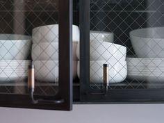 Mesh glass cabinet doors