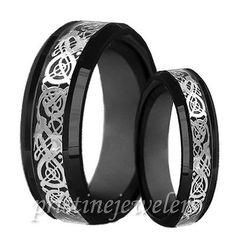Black His & Her Dragon Tungsten Carbide Celtic Ring Mens Wedding Band Silver Set
