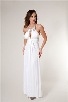 Wow, Ursula Mayes is hot in this white Sky Brand Dress with Crystals along the neckline & a sexy key hole in the front    http://www.eyecandycouture.com/Sky-Brand-Feather-Maxi-Dress-p/skyjob.htm