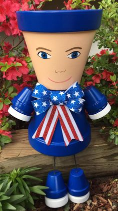 Clay Flower Pot Patriotic Independence Day Clay Pot of July Red White and Blue Memorial Day Pot People Pot Person This Patriotic Guy Clay Pot Projects, Clay Pot Crafts, Fun Projects, Patriotic Crafts, Patriotic Decorations, July Crafts, Flower Pot People, Clay Pot People, Clay Flower Pots