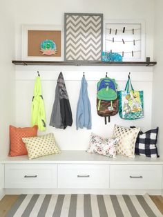 Simply Done: Beautiful Command Center & Mudroom - simply organized Entryway Organization, Organized Entryway, Banquette, Mid Century House, Organizing Your Home, Home Hacks, Home Projects, School Projects, Mudroom