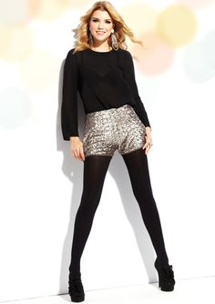 Love these sequin shorts with tights!