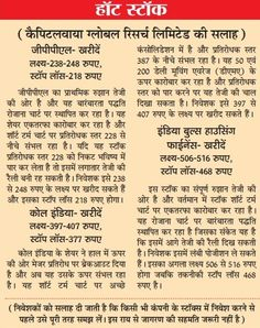 Date of Coverage Appeared: 08-01-2015 Publication: Dainik Jagran Headline: Hot Stock Edition: Indore & Bhopal Language: Hindi Page No.: 10