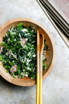 Lemony fennel, radish, spring pea and kale salad loaded with herbs and feta cheese. A bright, vibrant, packed with flavor spring and summer salad.