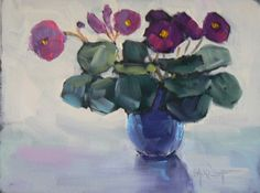 Painting on Sale Flower Painting Daily Painting Small Oil Painting African Violets by Carol Schiff 6x8 still life, painting by artist Carol Schiff