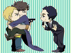 Me encanta que aunque Sherlock sea más alto, la representación más común es en los brazos de John, apoyandose en el.
