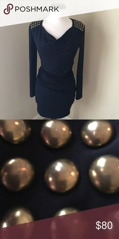 Michael Kors Studded Shoulder Navy Dress NWOT NWOT Super edgy Michael Kors navy dress with gold studded epaulets and side ruching. This is the kind of dress that will hit your curves in all the right places. Material Content: 94% polyester, 6% spandex. MICHAEL Michael Kors Dresses Midi