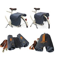 Tourbon Bike Roll-Up Bag Waterproof Bicycle Tail Rear Seat Double Panniers Pack #Tourbon