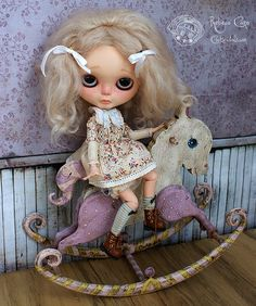 "Antique Rocking Horse ~ Sweet baby lilac & white edition     Designed & handmade by Rebeca Cano ~ ""Cookie dolls""  https://www.facebook.com/CookieDolls  © All rights reserved"