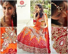Orange and red bridal lehenga with intricate zari work | On request Call +91 9953952967 or +91 9810433773 to book it now!