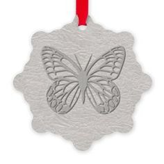 Silver Grey Butterfly Grey Textured Snowflake ornament.