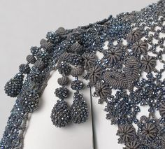 detail, Victorian French bead knitted mantle