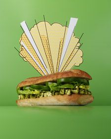 The Mighty Mozz Sandwich - Bursting with hunks of mozzarella cheese and fresh pesto, this meatless meal is a super choice for lunchtime. For more creative ideas for kids lunches visit https://www.facebook.com/SchoolLunchIdeas you may find something you 'LIKE'