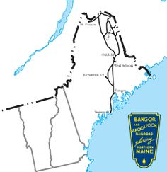 The Bangor & Aroostook served its home state of Maine. Chartered in 1891 it fell into bankruptcy in Today, remnants of the system are still operated. Train Map, Train Route, Us Railroad Map, Rr Logo, System Map, Railroad Pictures, Bangor, Model Trains, Logos