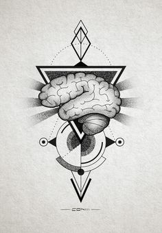 Brain tattoo design for a tattoo contest which i did not win http://instagram.com/conlll http://www.facebook.com/conetree
