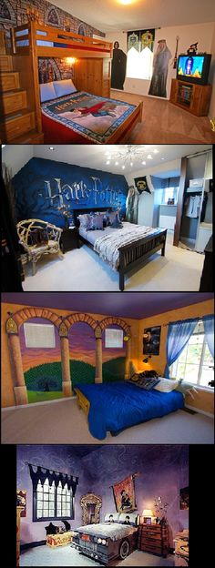 Harry Potter room ideas. Can I be a child again? Please.... Oh, forget it. I'll have MY bedroom decorated like this anyway.