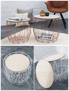 Scandinavian style side tables wire baskets for small things storage: wire baskets, storage space for pillows, books, magazines #smallspace #tinylivingroom #dtorage #minimalistic #scandinavian #sidetables #livingroomstorsge #ad