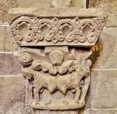 Capitel de la arquería baja del ábside - Colegiata de San Martín de Elines, Valderredible, Cantabria