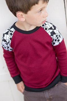 Boys Red Long Sleeve Raglan Shirt.. Blk/Wht Geo Print.Children's Clothing.Toddler Shirt..Boys Shirt.Long Sleeve Boys Top.Kids Clothing by HappyCampersShop on Etsy https://www.etsy.com/listing/207198040/boys-red-long-sleeve-raglan-shirt-blkwht