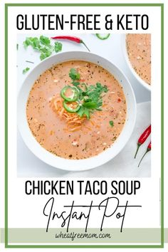 This gluten-free and keto instant pot chicken taco soup is a quick and easy weeknight meal to make in your instant pot. It is low carb and uber creamy. This is a great meal to make for the family this week. Gluten Free Tacos, Gluten Free Soup, Gluten Free Chicken, Gluten Free Cooking, Gluten Free Recipes, Low Carb Recipes, Chicken Taco Soup, Chicken Tacos, Quick Dinner Recipes