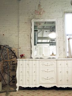 Painted Cottage Chic Shabby White French Mirror by paintedcottages, $265.00