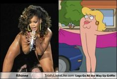Check out Rihanna looks like Legs Go All The Way Up Griffin from 10 Funny Look-Alikes