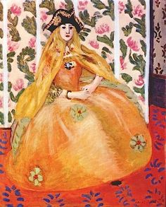 "Previous pinner wrote: ""The Venetian, 1922 by Henri Matisse. Matisse is the ultimate colorist. The colour combinations he uses are always brilliant and surprising but they work! Such a master! Henri Matisse, Matisse Art, Matisse Pinturas, Memorial Art Gallery, Matisse Paintings, Raoul Dufy, Orange Art, Plastic Art, Post Impressionism"