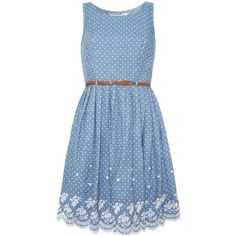Polka Dot Chambray Dress (5.475 RUB) ❤ liked on Polyvore featuring dresses, vestidos, dot print dress, dot dress, blue dot dress, chambray dress and blue dress