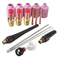 18pcs tig boquilla kit de lente de gas tungsteno cuerpo de la taza de la antorcha de soldadura pinza WP-17/18/26