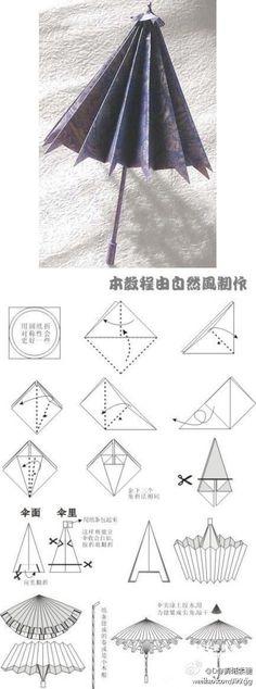 【小纸伞折纸图解】 本教程由自然风制作~