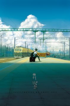 Waiting for the train illustration