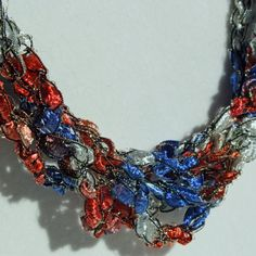 SALE  4th Of July   - Crocheted Necklace. $8.00, via Etsy.