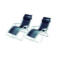 Reclining Zero Gravity Sun Chair Lounger - Twin Pack