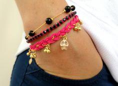 Sugar skull bracelet, set of 3, pink friendship bracelet black jewelry ghost braided bracelet best friend birthday present
